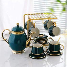 Bộ bình cốc uống trà cà phê màu xanh cổ vịt viền vàng kèm Giá treo cốc, 6 thìa vàng, 6 đĩa lót tách giá sỉ