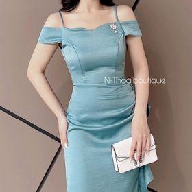 Váy lụa 2 dây ở vai bèo thân giá sỉ