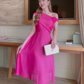 Đầm voan kiểu lệch vai hoa giá sỉ