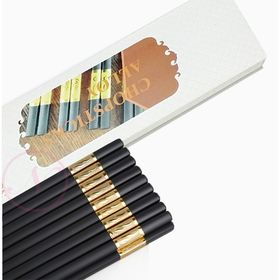 Bộ 10 đôi đũa hợp kim đầu bọc vàng cao cấp - không mốc - đầu gấp nhám bám cực tốt giá sỉ