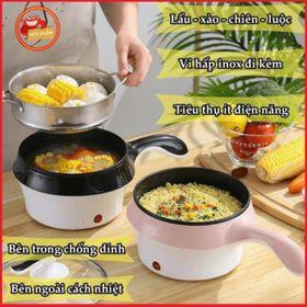 Nồi Điện Mini Hai Tầng Đa Năng Tặng Kèm Khay Hấp có thể Chiên, Xào, Nấu ăn, nấu cơm, nấu lẩu mini giá sỉ