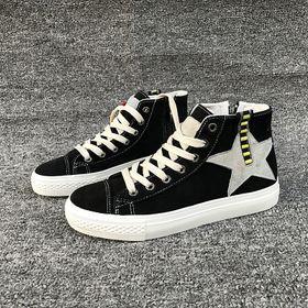 Giày sneaker cổ cao nữ vải phối da tổng hợp dày dặn 885 giá sỉ