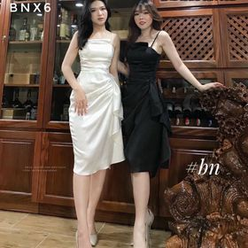 Váy lụa kiểu 2 dây bèo thân giá sỉ