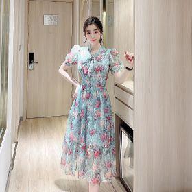 Váy hoa cổ nơ kiểu 3 tầng giá sỉ
