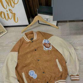 Áo khoác nhung kiểu bomber logo in bán chạy giá sỉ