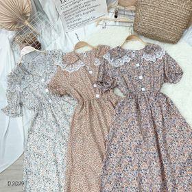 Đầm hoa cổ bèo viền ren D2029 giá sỉ