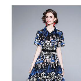 Đầm lụa hoạ tiết xanh D987277 - Kho sỉ giá sỉ