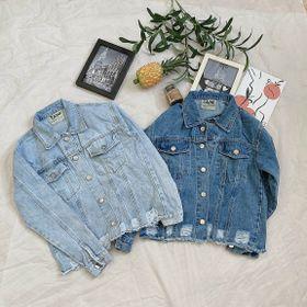Áo khoác jean nữ kiểu rách lai thời trang chuyên sỉ jean 2KJean giá sỉ