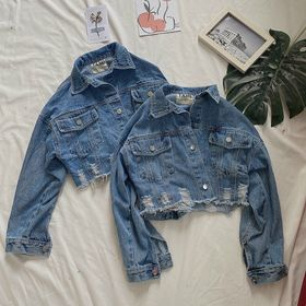 Áo khoác jean nữ kiểu croptop rách lai thời trang chuyên sỉ jean 2Kjean giá sỉ