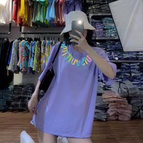 Áo thun phản quang 7 màu chữ trên cổ áo giá sỉ