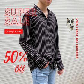 Áo sơ mi nam form rộng Hàn Quốc đen sọc trắng nhỏ (Hàng thiết kế - Zuhaus) giá sỉ