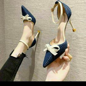 Giày sandal bích mũi cao Gót nơ thắt 9 phân giá sỉ