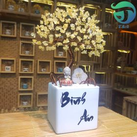 Cây Hoa Đá Thạch Anh Vàng Trang Trí Phòng Khách Bàn Làm Việc Quầy Thu Ngân Kệ Tủ giá sỉ