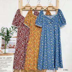 Đầm hoa nhíu ngực viền ren D9910 giá sỉ