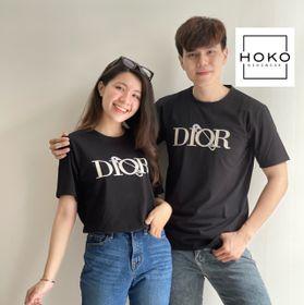 Áo thun cặp cổ tròn in chữ cotton HOKO giá sỉ