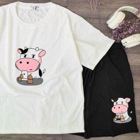 Set đồ bộ mặc nhà in hoạt hình bò sữa siêu dễ thương giá sỉ