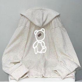 Áo khoác in phản quang mặt gấu thun PE phong cách hàn quốc giá sỉ