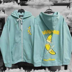 Áo hoodie chống nắng thun nỉ in trái chuối BANANA rõ đẹp giá sỉ