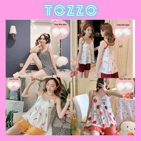 Đồ bộ mặc nhà đồ ngủ nữ 2 dây họa tiết cute mặc nhà chất thun cotton quần đùi mùa hè phong cách hàn quốc BN2DHT01