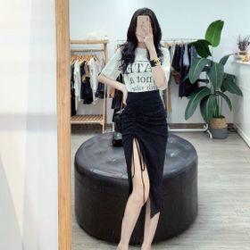 Set chân váy rúm lệch kèm áo thun hàng Quảng Châu siêu đẹp giá sỉ