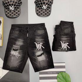 Quần short jean nam in thêu họa tiết phối viền hai bên Mã21165TDR GIÁ SỈ giá sỉ