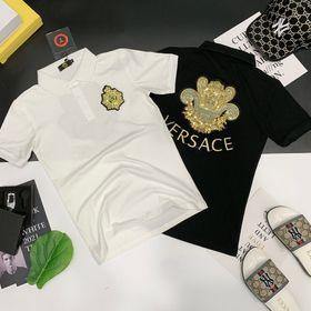 Áo thun nam đính đá kim sa thêu logo trước sau giá sỉ giá sỉ