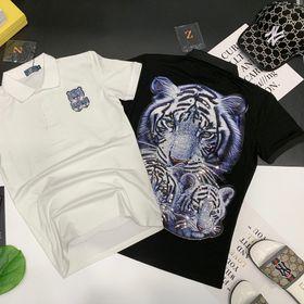 Áo thun nam kim sa logo trước sau thêu hổ bá cực đẹp giá sỉ cotton 100% giá sỉ