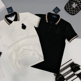 Áo thun nam phối bo cổ và tay thêu logo trước ngực giá sỉ cotton 100% giá sỉ