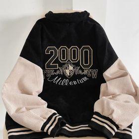 Áo khoác nhung kiểu bomber logo in 2000 sắc nét không bong tróc giá sỉ