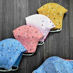 Combo 10 khẩu trang vải tôn hoa cao cấp 3 lớp 2 mặt mịn không xù giá sỉ