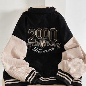 Áo khoác nhung kiểu bomber logo thêu 2000 sắc nét không bong tróc giá sỉ