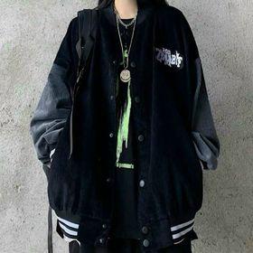Áo khoác nhung kiểu bomer logo thêu nút bấm trẻ trung giá sỉ