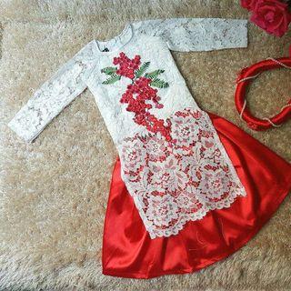 áo dài cách tân thêu kèm váy cho bé gái - xưởng may áo dài trẻ em người lớn giá sỉ