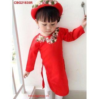 Mẫu set bộ áo dài hoa theu cho bé gái giá sỉ