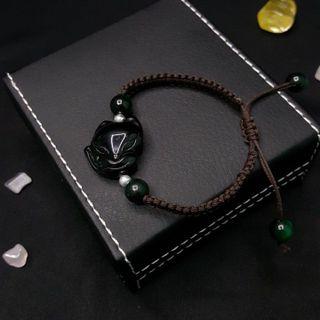 Hồ ly thạch anh đen tết dây hạt bạc - MSP 609 giá sỉ