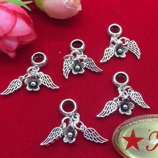 Charm bạc 925 hoa và cánh thiên thần - MSP 668 giá sỉ