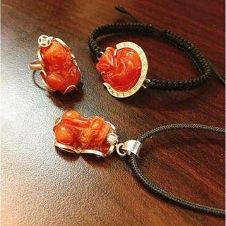 Bộ trang sức bạc ngọc huyết đỏ - MSP 744 giá sỉ