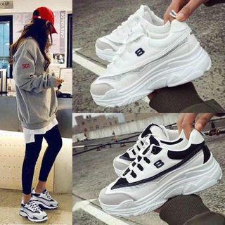 Giày thể thao độn đế vạch kim tuyến HAPU trắng đen giá sỉ