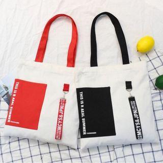 túi tote 2 màu kèm đai chữ giá sỉ