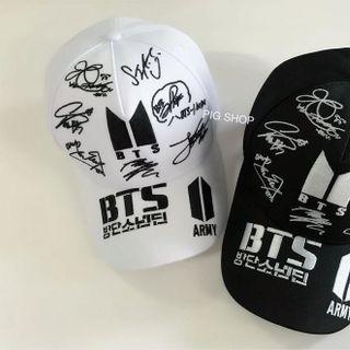Nón BTS mũ BTS màu đen - trắng 7 chữ ký giá sỉ