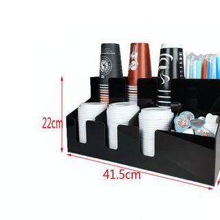Kệ để cốc trà sữa 2 tấng Mika 3 để cốc 3 để nắp 2 để ống hút 1 để giấy giá sỉ