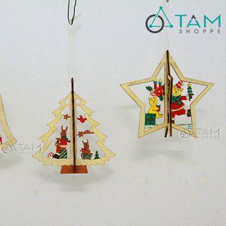 Phụ kiện trang trí cây thông Noel bằng gỗ 3D số 24 giá sỉ