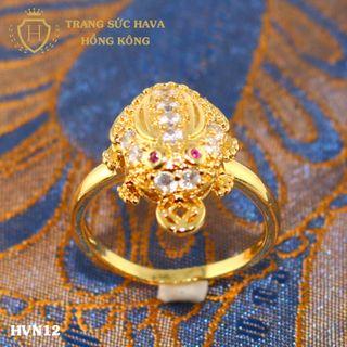 Nhẫn nữ titan mạ vàng mặt cóc ngậm tiền- Trang Sức Hava Hồng Kông - HVN12 giá sỉ