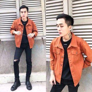 Áo khoác kaki Unisex màu cam giá sỉ