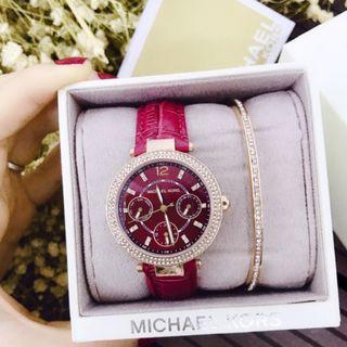 đồng hồ nữ MK đỏ mận quyền lực giá sỉ