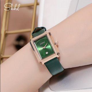 Đồng hồ nữ GUOU 6018 mặt chữ nhật đầy mê hoặc giá sỉ