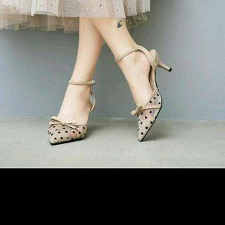 Giày sục cao gót chấm bi - Hàng ri giá sỉ