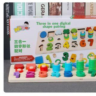 Giáo cụ Montessori cột tính học đếm và hình khối bằng gỗ giá sỉ