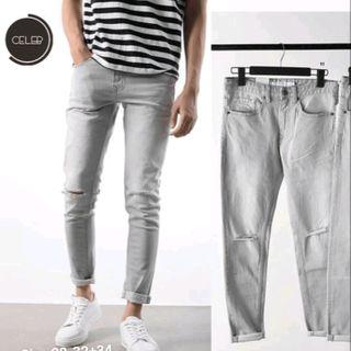 Quần jean nam màu bạc rách gối giá sỉ