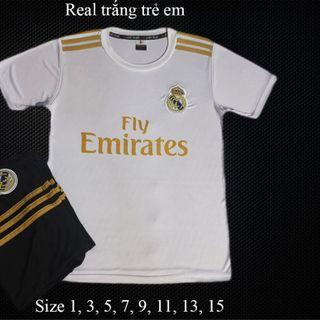 Bộ thể thao đá banh real Madrid trẻ em 8-45kg giá sỉ